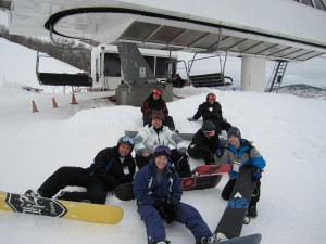 Group photo of Fedil's Friends on snowboarding trip to Park City Mountain