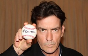 Charlie Sheen fastball promoting his tour