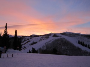 Sunset on a snowy mountain top