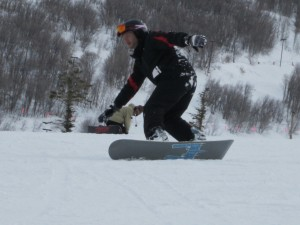 Stephen carving an edge while snowboarding