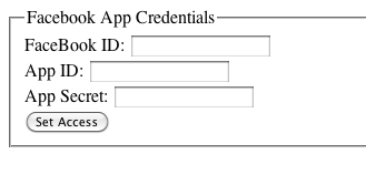 What the web form looks like for setting the Facebook App access